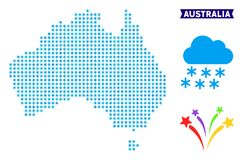 Snowflake Australia Map. Icy Australia map. Vector geographic scheme in blue frost colors. Vector collage of Australia map done of snow flakes Stock Illustration