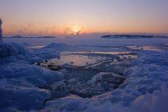 Icy Baltic Sea at winter dawn Royalty Free Stock Photos