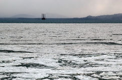 Icy bay with jack-up rig Stock Photo