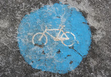 Icy bike path - traffic sign Royalty Free Stock Photo