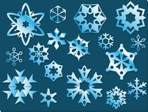 Icy Blue Vector Geometric Snowflakes Stock Images