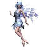 Icy Blue Winter Fairy - 1. Pretty winter fairy with icy blue wings and hair dancing, 3d digitally rendered illustration Stock Photo