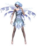 Icy Blue Winter Fairy - 2. Pretty winter fairy with icy blue wings and hair standing, 3d digitally rendered illustration Stock Photography