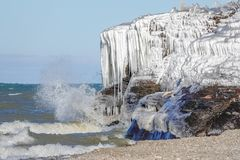 Icy Bluffs Along the Lake Erie Shoreline royalty free stock image