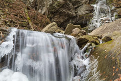 Icy Buttermilk Falls in Peekamoose Gorge Royalty Free Stock Photo