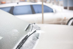 Icy car in the winter. Stock Photos