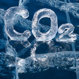 Icy chemical formula of carbon dioxide CO2. Chemical formula of greenhouse gas carbon dioxide CO2 made from ice on winter frozen lake Baikal Stock Image