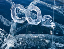Icy chemical formula of carbon dioxide CO2 Royalty Free Stock Images