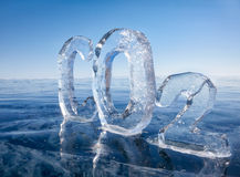 Icy chemical formula of carbon dioxide CO2 Royalty Free Stock Photo