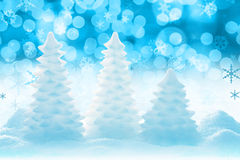 Icy Christmas tree. Christmas tree ice sculptures with bokeh background Stock Photo
