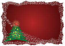 Icy Christmas tree frame on red background. Frosty white frame with Christmas tree and red gradient background vector illustration Royalty Free Stock Image