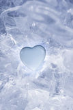 Icy Cold Blue Heart. Heart on ice in blue Royalty Free Stock Image