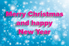 Icy cold merry Christmas and happy New Year card with text. In warm colors Royalty Free Stock Image