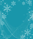 Icy Cold Snowflakes. Beautiful crystal snowflakes and swirls on an icy blue background Stock Images