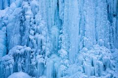 Icy Cold Waterfall Detail. An extreme close up detail from a frozen waterfall in winter Royalty Free Stock Photo