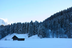Hut in icy cold winter scenery Royalty Free Stock Photos