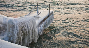 Icy Covered Pier Royalty Free Stock Images