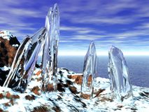 Icy Crystals. Landscape with huge icy crystals Stock Photo