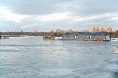 The icy Dnieper riverbed Stock Photos