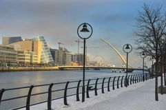 Icy Dublin footpath Royalty Free Stock Images