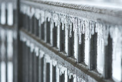 Icy Fence. A fence is covered in ice after an ice storm Stock Images