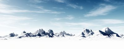 Icy frozen mountainous landscape. Stark winter wonderland covered in snow with cold air blowing Stock Image