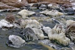 Icy frozen river on murky winter day. Small stream, grass and stones covered with ice stock image