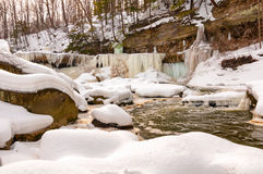 Icy Great Falls of Bedford Stock Images
