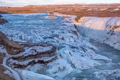 Icy Gullfoss waterfall in winter Royalty Free Stock Photo