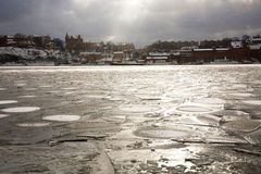 Icy Harbor in front of Gamla Stan. Gamla Stan (old town) in Stockholm Sweden taken from across the frozen harbor Royalty Free Stock Photos