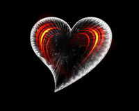 Icy Heart With Fiery Waves Stock Photo