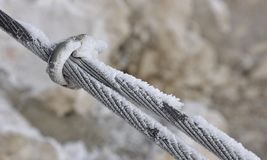 Icy iron rope Royalty Free Stock Images