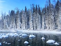 Icy Kanas Lake in Winter. `Kanas` is a Mongolian word meaning `lake in the canyon`. The main features of this Park are the `high mountain glacier lake` Kanas Royalty Free Stock Image