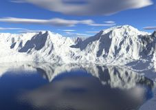 Icy Lake. Digital render of snowy mountains reflected in a gently rippled glacial lake Royalty Free Stock Image