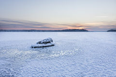 Icy lake at the blue moment Stock Photography