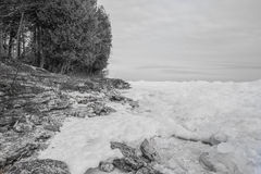 Icy Lake Michigan Shoreline Royalty Free Stock Photography