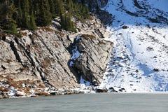 Icy lake and shore Royalty Free Stock Photo