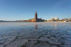 Winter in Stockholm, Sweden, Europe. Icy lake in Stockholm, Sweden`s capital in the winter, Europe stock photos