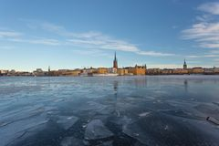 Winter in Stockholm, Sweden, Europe. Icy lake in Stockholm, Sweden`s capital in the winter, Europe Royalty Free Stock Photography
