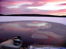 Icy lake at sunset Stock Image