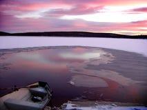 Icy lake at sunset