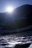 Icy layer. Ridge on counterlight and icy snow surface layer Stock Photos