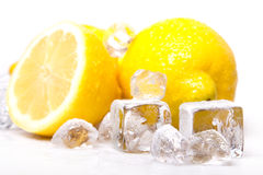 Icy lemons. Placed on white stock images