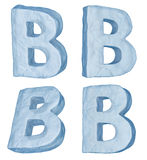 Icy letter B. Icy letters set. Letter B uppercase isolated on white Royalty Free Stock Images