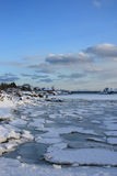 Icy Lofoten sea. Icy sea near the Lofoten's village of Ballstad royalty free stock photos
