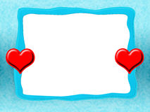 Icy Love Frame. Icy Blue Romantic Love Frame with Red Hearts Royalty Free Stock Images