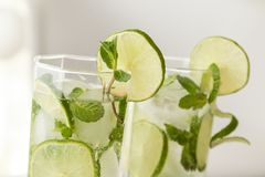 Icy mojito cocktails Royalty Free Stock Image