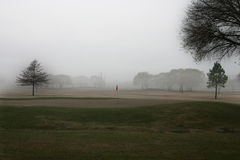 Icy Morning. Misty Morning on the golf course Stock Photo