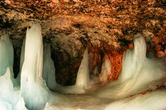 Icy Mossy Cave. Mossy Cave in Utah during spring snow melt Royalty Free Stock Photos