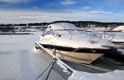 Icy motorboat Royalty Free Stock Photos